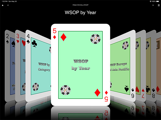Home Coverflow showing WSOP by Year